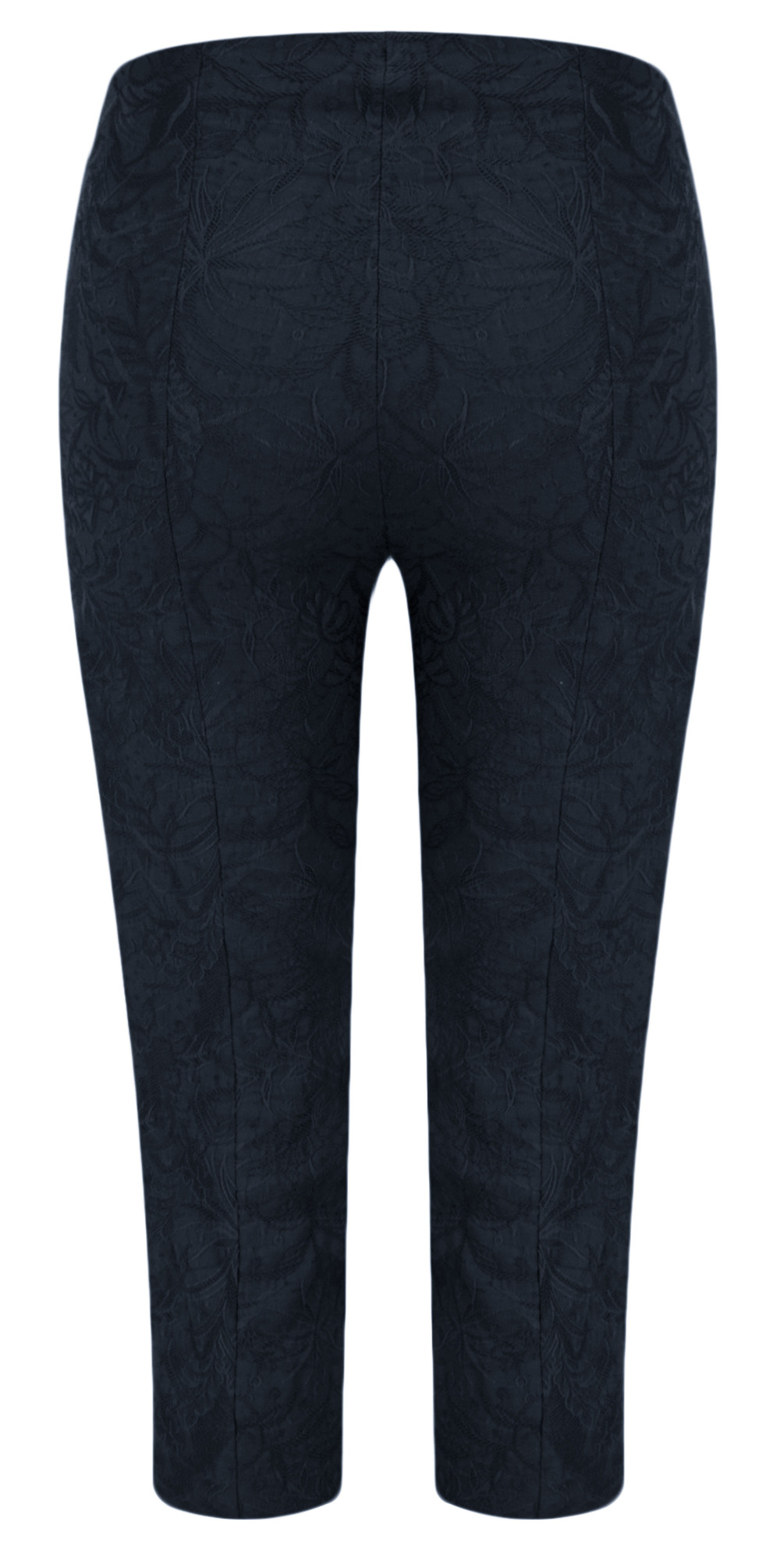 Marie 07 Navy Jacquard Crop Trouser main image