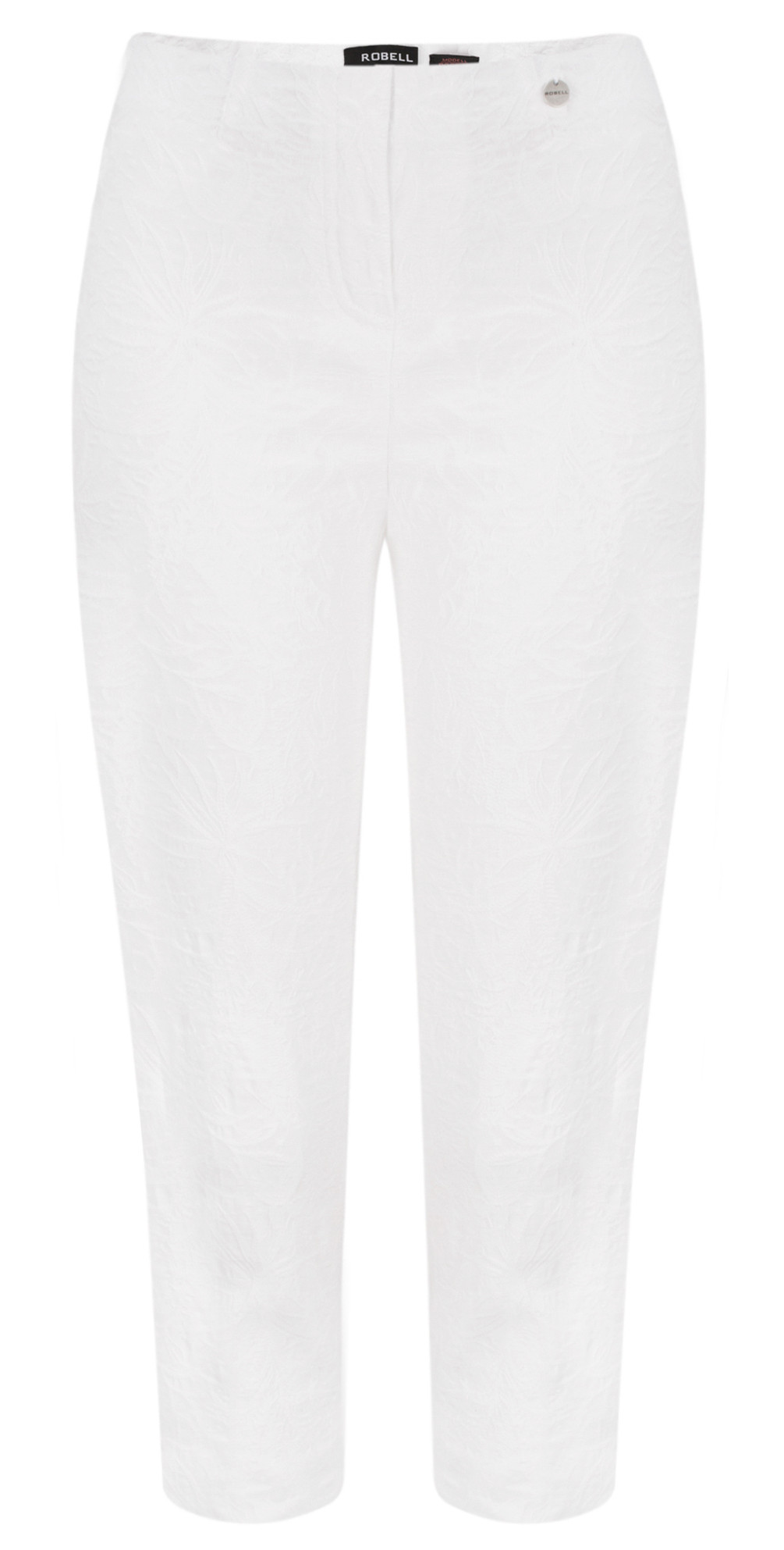 Marie 07 White Jacquard Crop Trouser main image