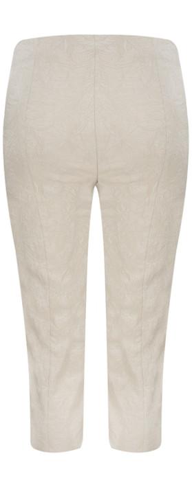 Robell Marie 07 Beige Jacquard Crop Trouser Beige