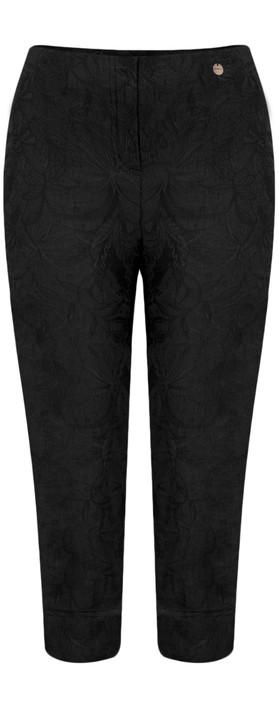 Robell Marie 07 Black Jacquard Crop Trouser Black