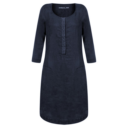 Sandwich Clothing Distressed Linen Woven Dress - Blue