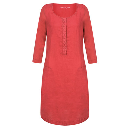 Sandwich Clothing Distressed Linen Woven Dress - Red