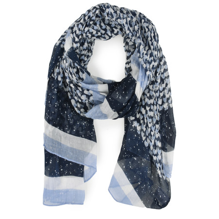 Sandwich Clothing Modal Ditsy Heart Print Woven Scarf - Blue