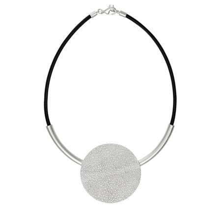 Dansk Smykkekunst Trixie Round Leather Necklace - Metallic