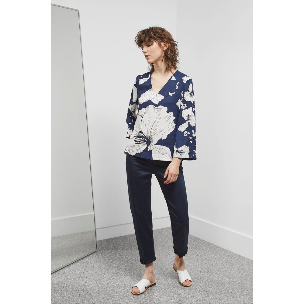Great Plains Tropical Fauna Blouse Classic Navy Combo