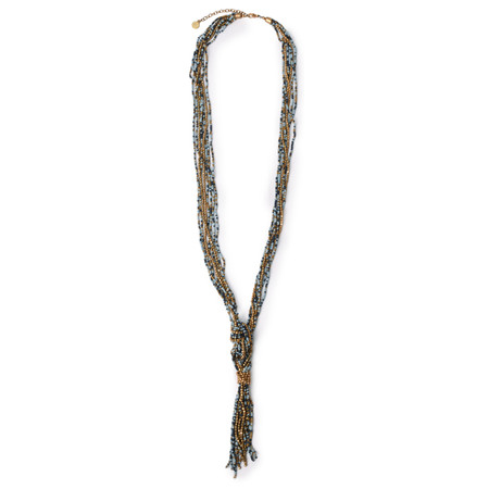 Sandwich Clothing Beaded Tassel Necklace - Green
