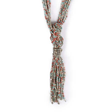 Sandwich Clothing Beaded Tassel Necklace - Blue