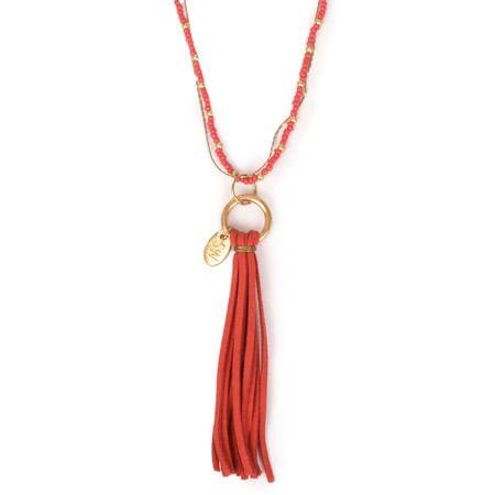 Sandwich Clothing Tassel Necklace - Red