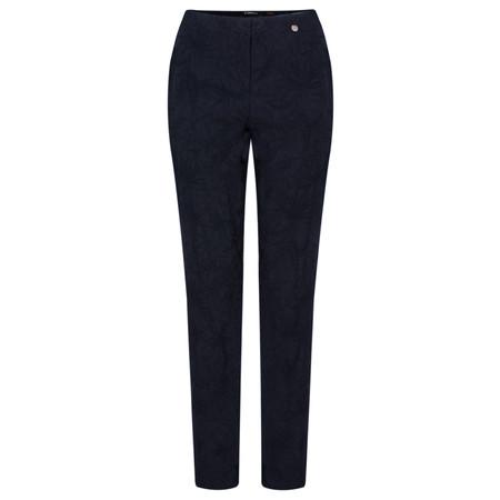 Robell Trousers Marie Flower Jacquard Slim Fit Trouser - Blue