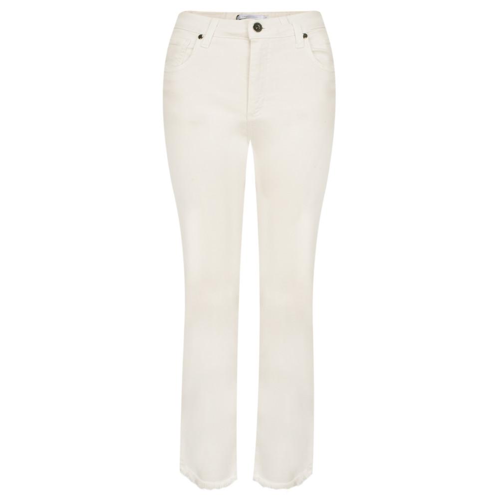 Lauren Vidal Frayed Hem Kick Crop Jeans Ecru