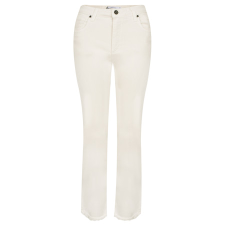 Lauren Vidal Frayed Hem Kick Crop Jeans - Off-White
