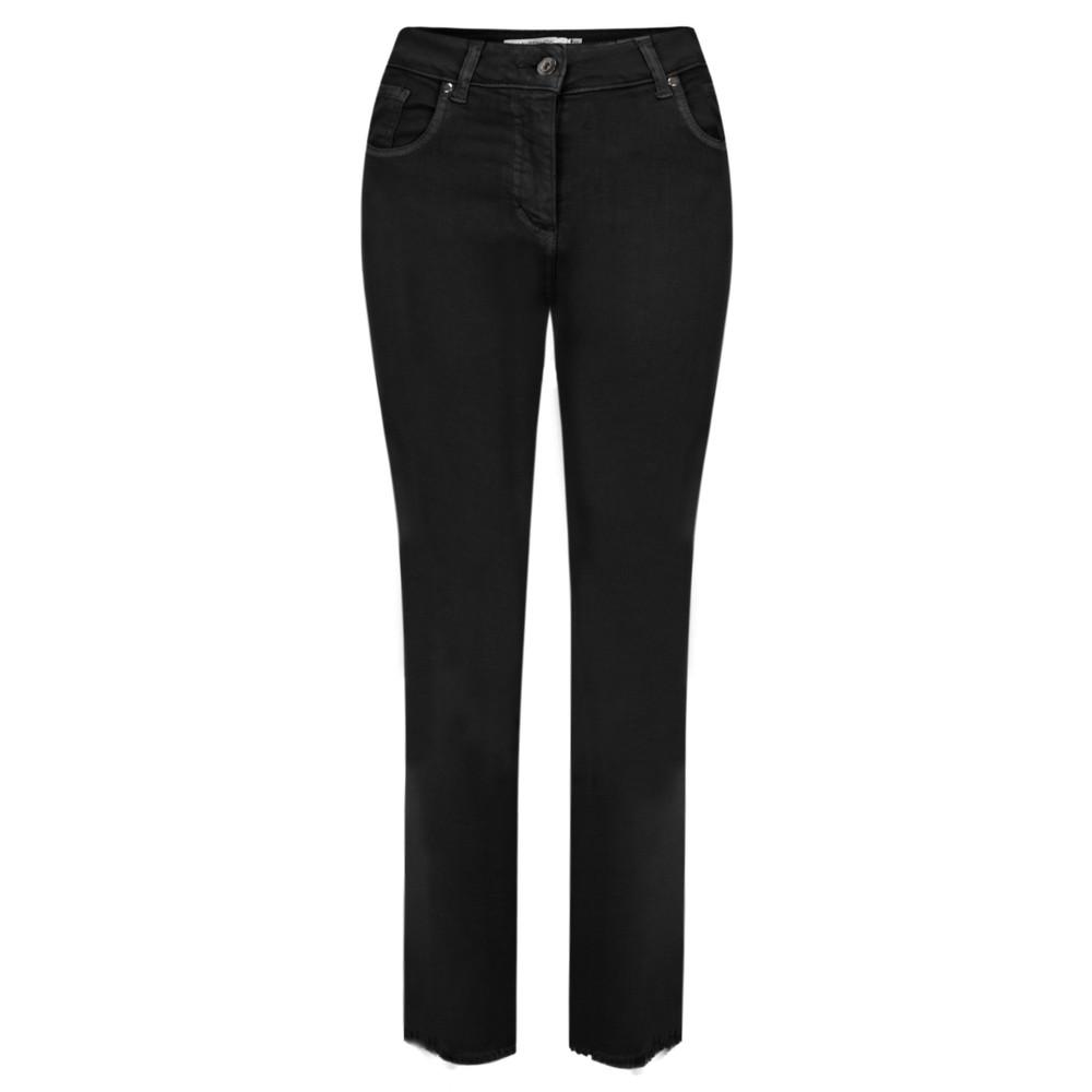 Lauren Vidal Frayed Hem Kick Crop Jeans Noir Black