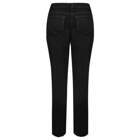 Lauren Vidal Frayed Hem Kick Crop Jeans - Black