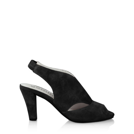 Gemini Label Shoes Valencia Black Suede  Sandal Shoe - Black