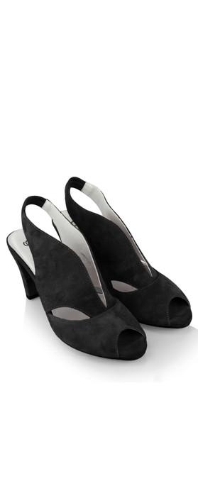 Gemini Label Shoes Valencia Black Suede  Sandal Shoe Black