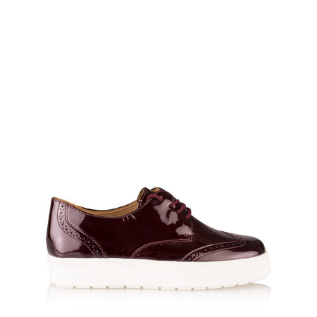 Caprice Footwear Romy Patent Leather Flatform Brogue - Red