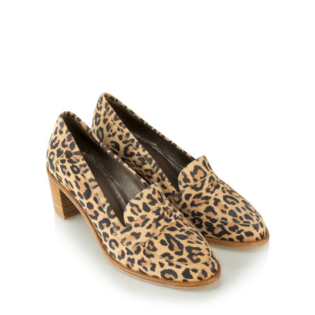 Gemini Label Shoes Ranti Leopardo Heeled Loafer - Beige