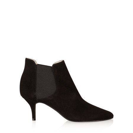 Gemini Label  Ilirio Suede Kitten Heel Ankle Boot - Black