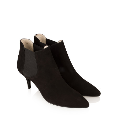 Gemini Label Shoes Ilirio Suede Kitten Heel Ankle Boot - Black