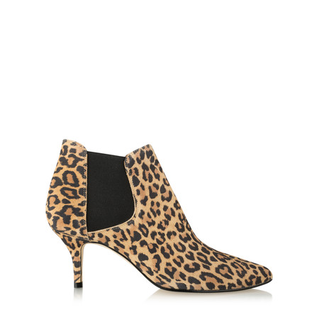 Gemini Label  Ilirio Leopardo Kitten Heel Ankle Boot - Beige