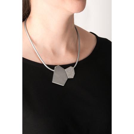 Dansk Smykkekunst Trixie Shape Leather Necklace - Grey