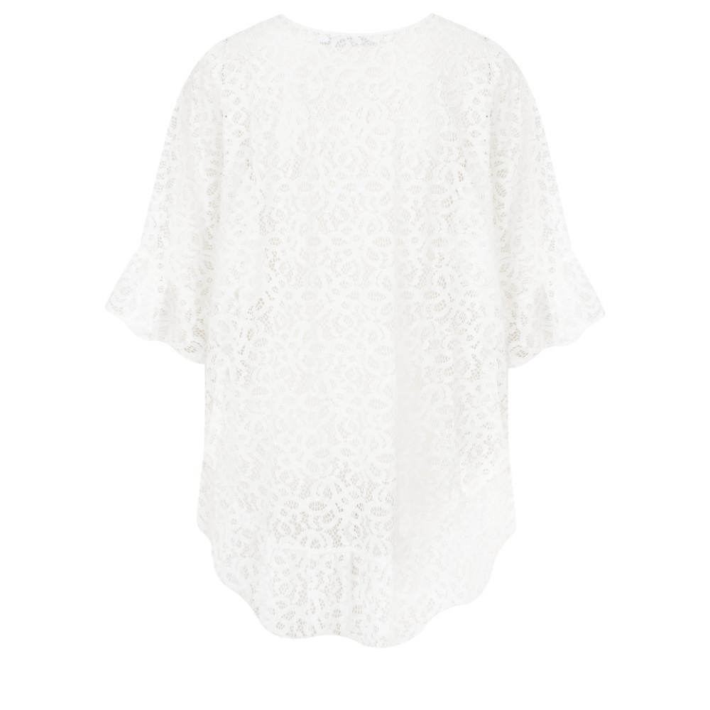 Lauren Vidal Lace Frill Hem EasyFit Top Blanc White