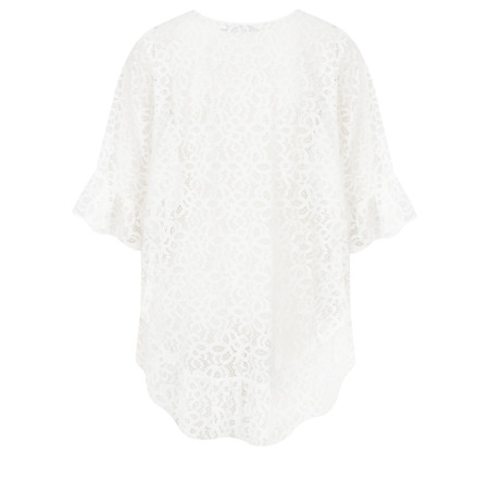 Lauren Vidal Lace Frill Hem EasyFit Top - White