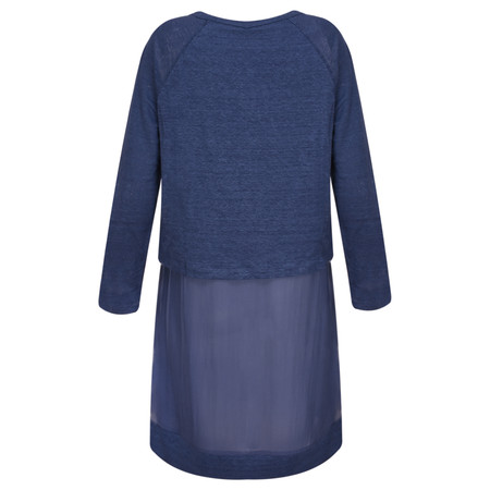 Foil Layered Silk Tunic Top - Blue