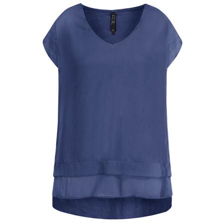 Foil Silk Front Top - Blue
