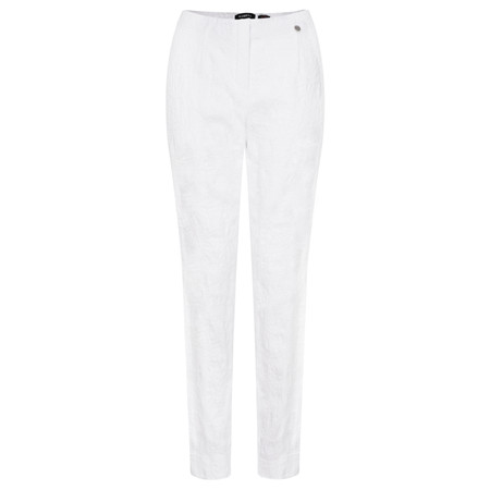 Robell  Marie Flower Jacquard Slim Fit Trouser - White