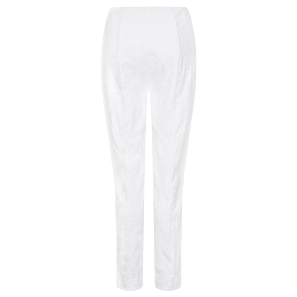 Robell Marie White Flower Jacquard Slim Fit Trouser White