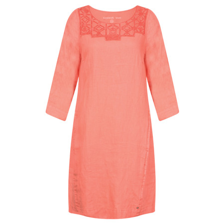 Sandwich Clothing Distressed Linen Cutout Lace Dress - Orange