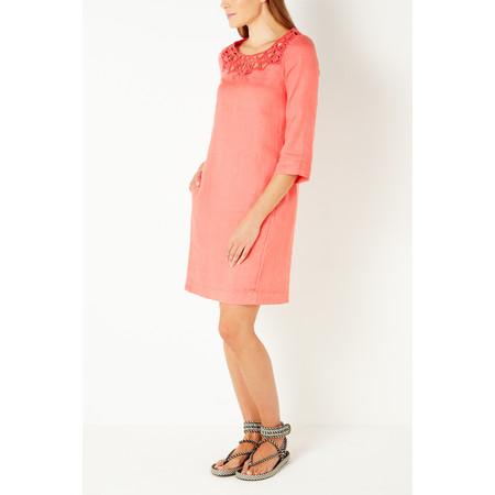 Sandwich Clothing Linen Cutout Lace Dress - Orange