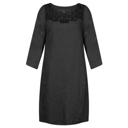 Sandwich Clothing Linen Cutout Lace Dress - Black