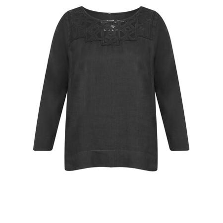 Sandwich Clothing Linen Cutout Lace Blouse - Black