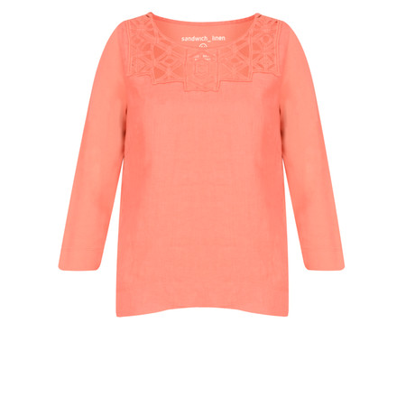 Sandwich Clothing Distressed Linen Cutout Lace Blouse - Orange