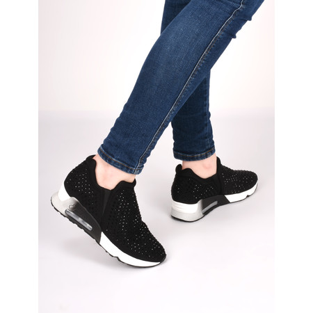Ash Lifting Wedge Stud Trainer Shoe - Black
