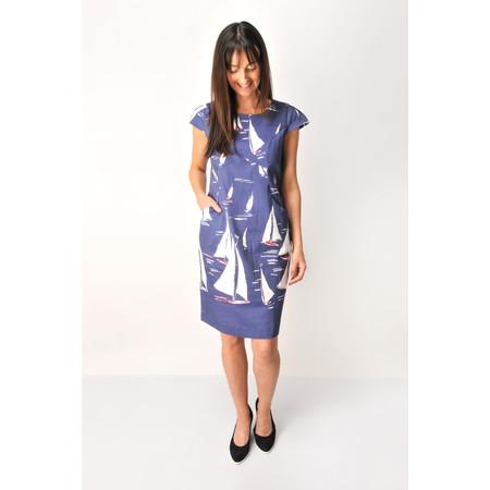 Foil Sail Print Dress - Blue