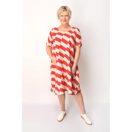 Foil Zig Zag Print Smock Dress - Red