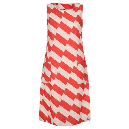 Foil Zig Zag Print Shift Dress - Red