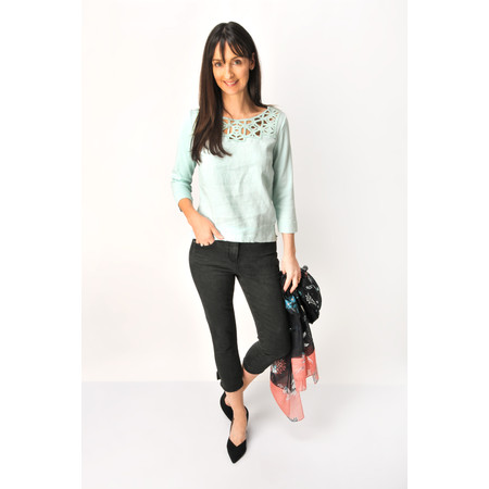 Sandwich Clothing Distressed Linen Cutout Lace Blouse - Green