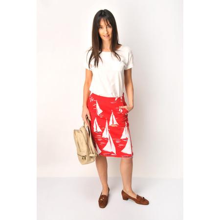 Foil Sail Print Skirt - Red