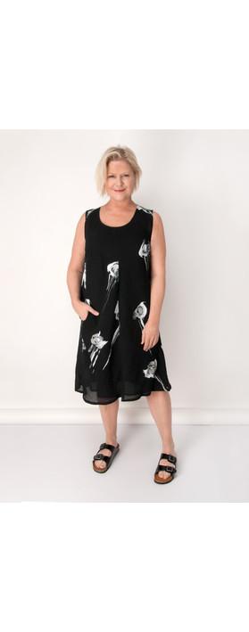 Q Neel Rose Linen Sleeveless Dress In Black