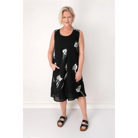 Q'neel Rose Linen Sleeveless Dress - Black