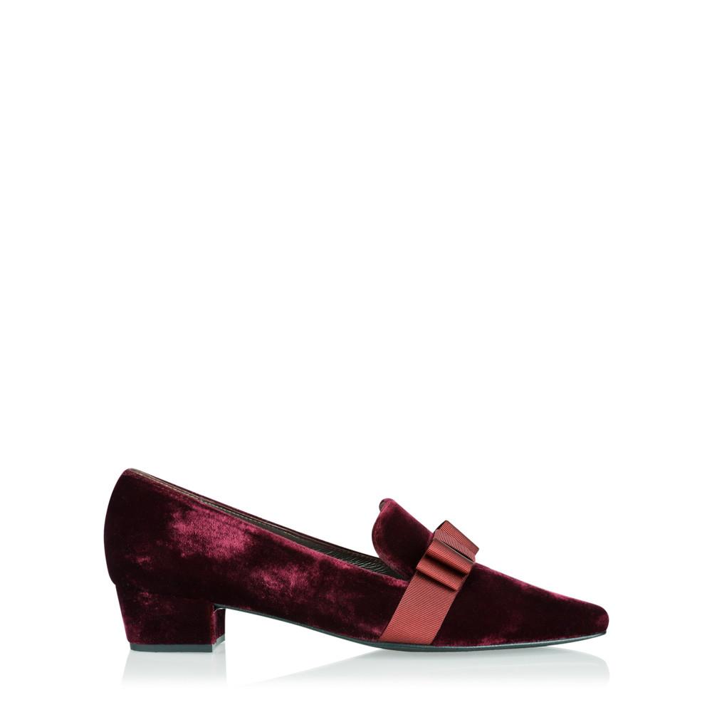 Gemini Label Shoes Rolero Velvet Pump Bordeaux