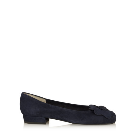 Gemini Label Shoes Closed Suede Classic Flower Pump - Blue
