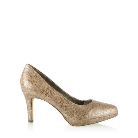 Tamaris  Leather Metallic Court Shoe - Beige