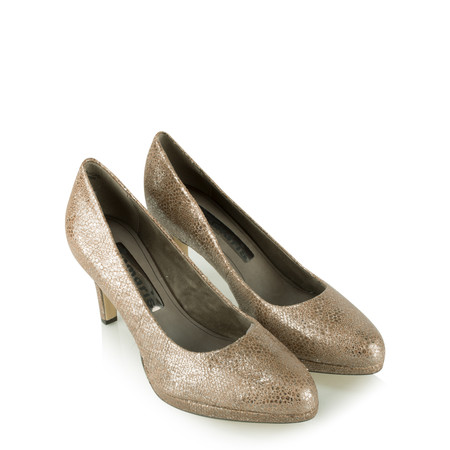 Tamaris  Leather Metallic Court Shoe - Brown