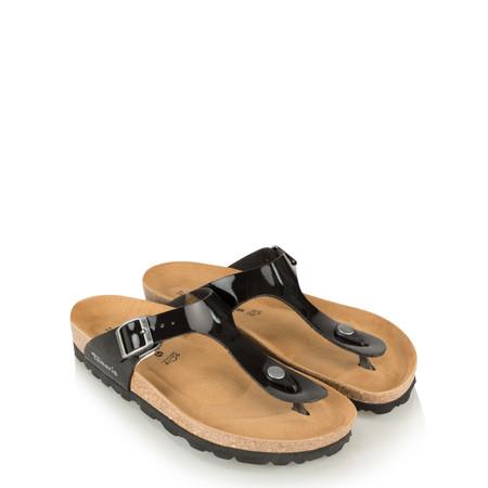 Tamaris  Birki Toe Post Patent Sandal - Black