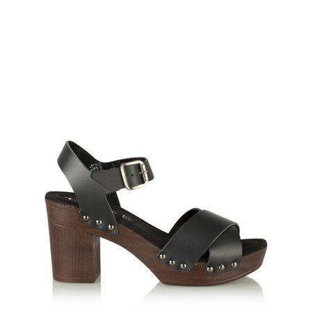 Tamaris  Leather Clog Sandal - Black